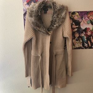 Jackets & Blazers - Tan winter knitted coat with furry collar